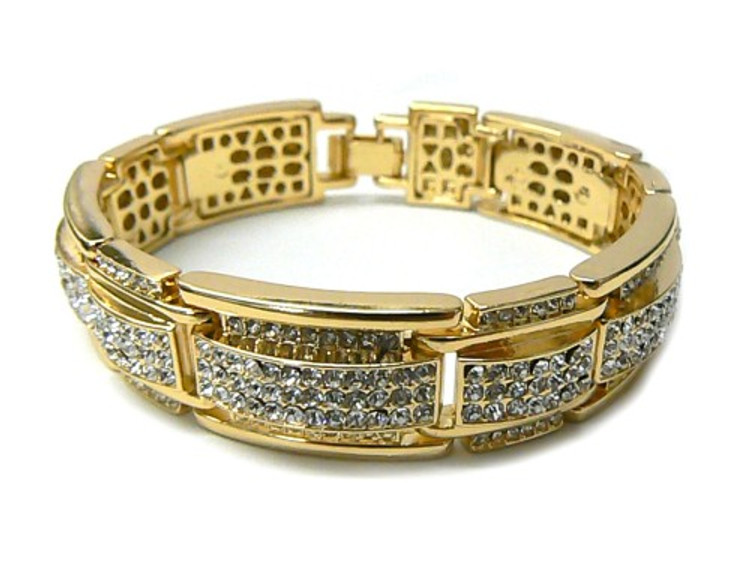 Mens 14k Gold Ring of Ice Diamond Cz Hip Hop Bracelet
