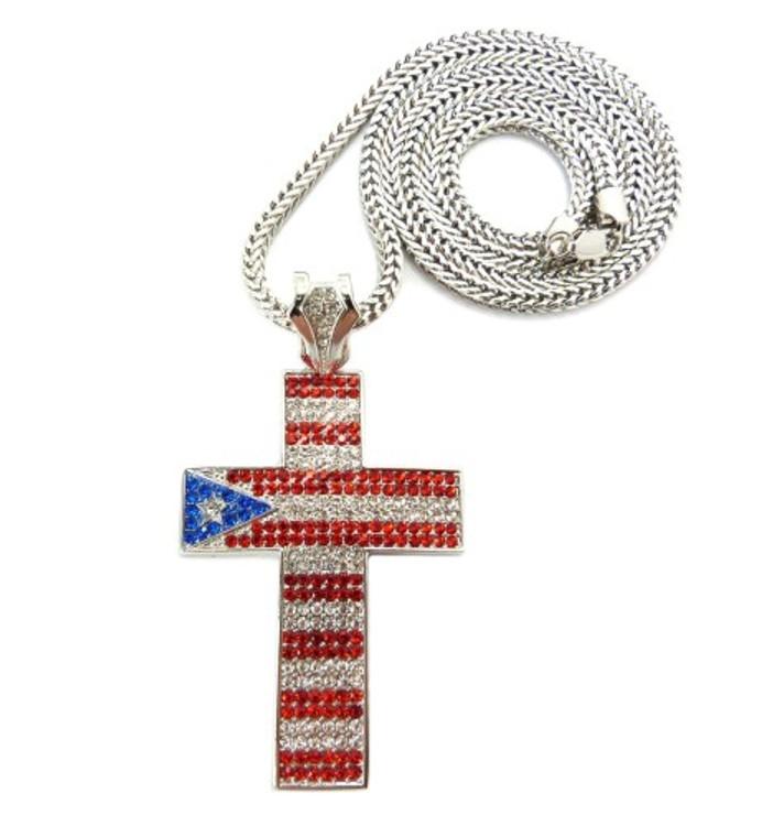 Puerto Rico Flag Hip Hop Cross Pendant Chain Silver