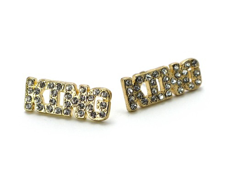 14k Gold Iced Out Hip Hop Simulated Diamond King Earrings