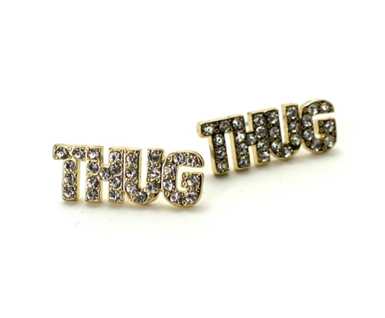 14k Gold Iced Out Simulated Diamond Thug Earrings
