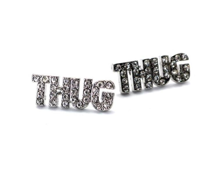 Rhodium Silver Iced Out Simulated Diamond Thug Earrings