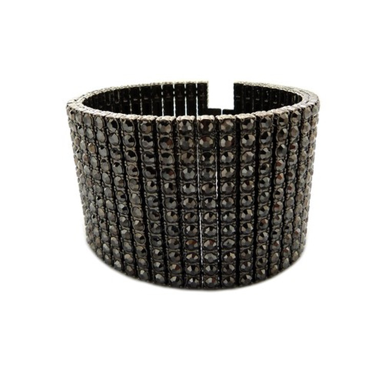 Hip Hop 600 Stone Simulated Diamond Pharaoh Bracelet Black