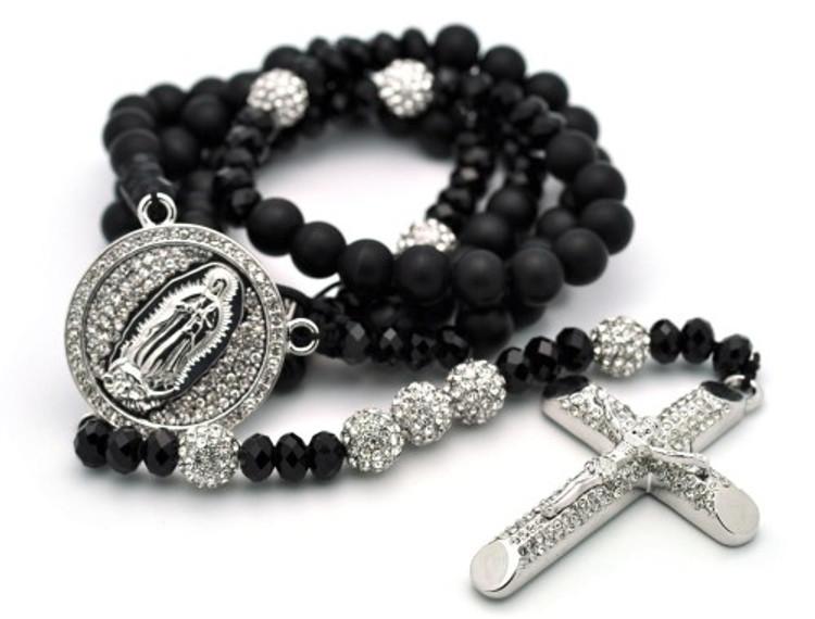 Rhodium Silver Disco Ball Beaded Rosary Cross Pendant