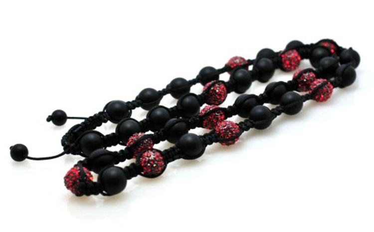 Hip Hop Red Cz Stone Matte Black Disco Ball Chain