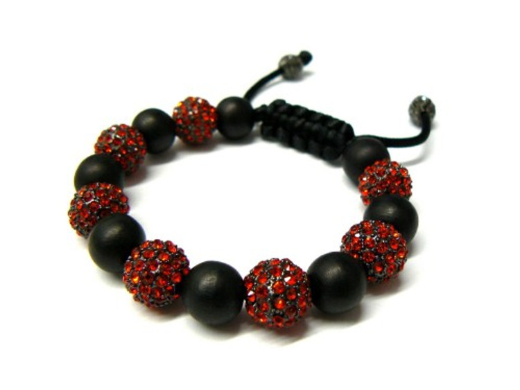 Red Stone 12mm Cz Disco Ball  Iced Out Bracelet