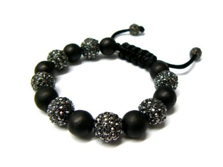 All Black Everything Cz Iced Out Disco Ball Bracelet
