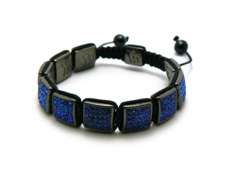 12 mm Blue Stone Cz Square Iced Out Disco Ball Bracelet