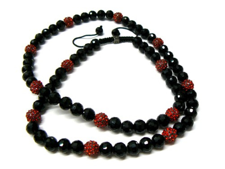 Black Disco Ball & Red Cz Stone Hip Hop Chain Necklace