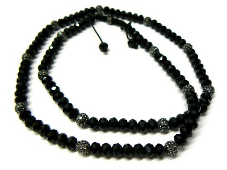 Black Solitaire Cz & Black Cz Stone Hip Hop Chain Necklace