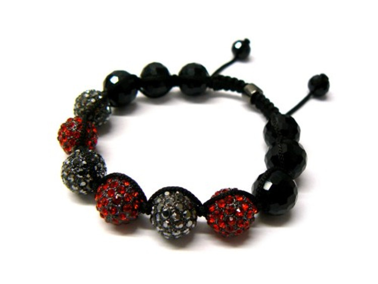 Red/ Black Hematite Cz Hip Hop Disco Ball Bracelet