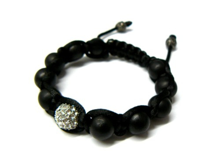 Cz Matte Black Ball Iced Out Disco Ball Bracelet