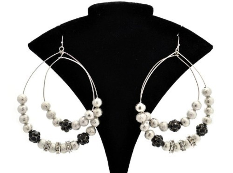 Fire Ball Cz Tear Drop Basketball Wives Style Earrings Silver