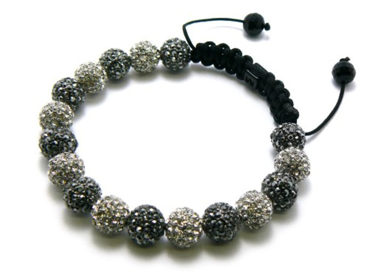 Frosted Cz Rhodium Silver Black Disco Ball Hip Hop Bracelet