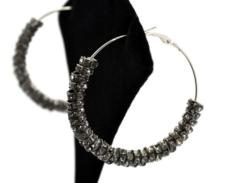 Rhinestone Cz Basketball Wives Earrings Black