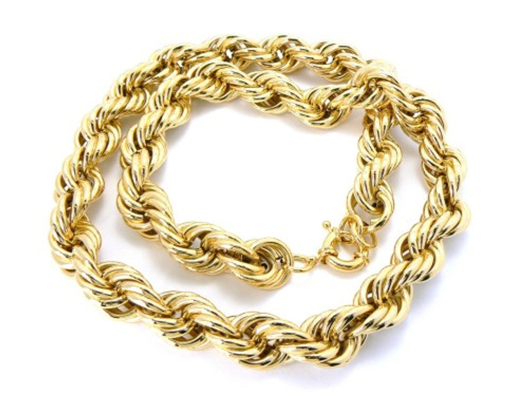 18mm 30 Inch Mens Gold Hip Hop Dookie Rope Chain Necklace