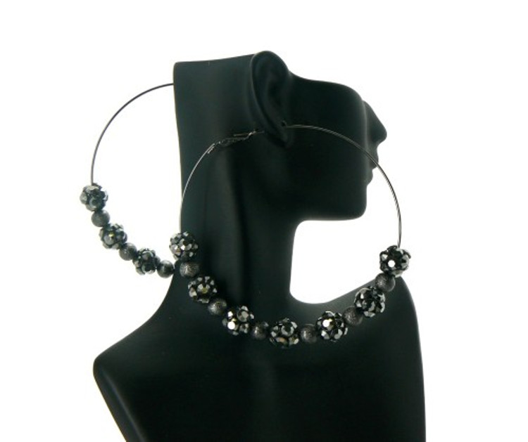 Black on Black Cz Basketball Wives Style Earrings