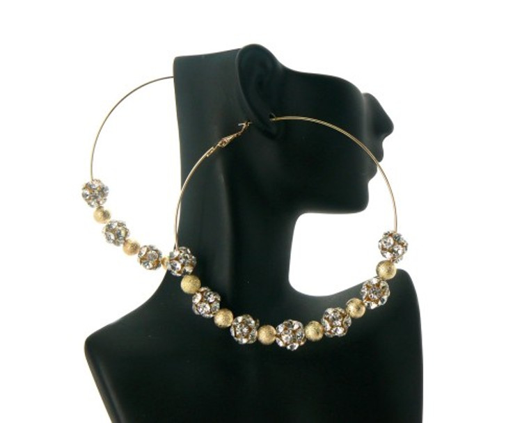 Gold Pebble Cz Basketball Wives Style Hip Hop Earrings