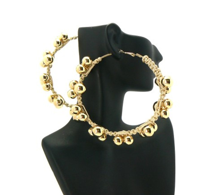 Basketball Wives Style 3 Ball Hip Hop Earrings Earrings Gold