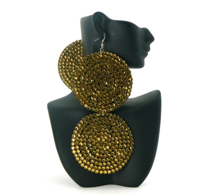 Circle Duo Gold Stone Basketball Wives Iced Out Earrings