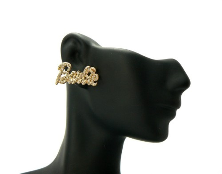 Gold Barbie Name Cz Iced Out Earrings