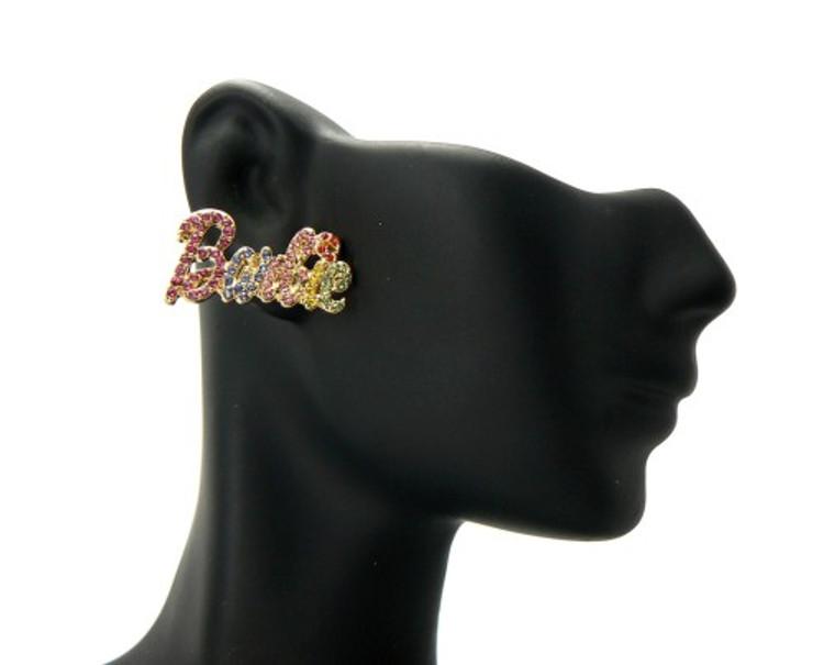 Gold Barbie Rainbow Cz Iced Out Earrings