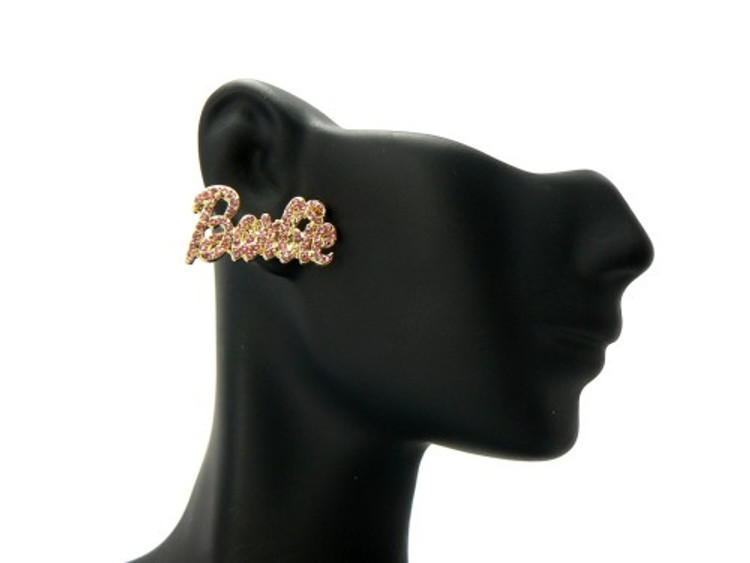 Gold Barbie Pink Cz Iced Out Earrings