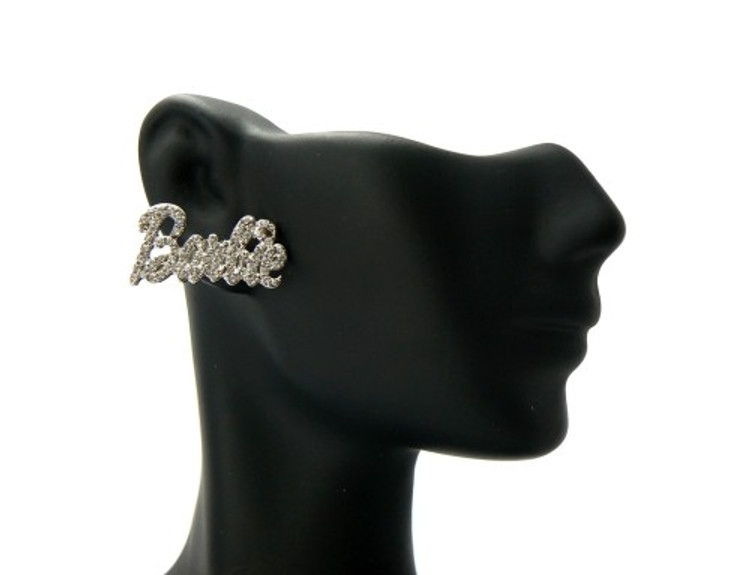 Silver Barbie Name Cz Iced Out Earrings