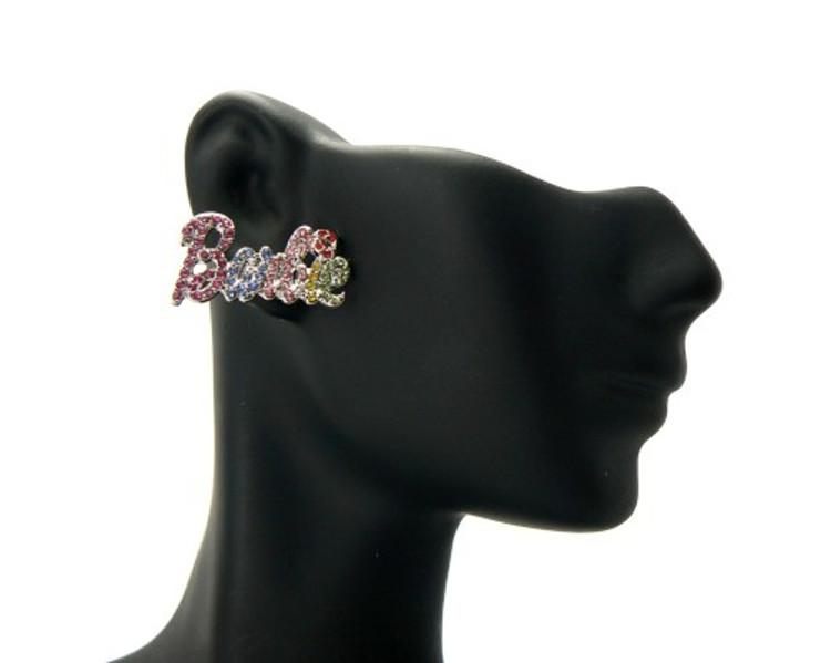Silver Barbie Rainbow Cz Iced Out Earrings