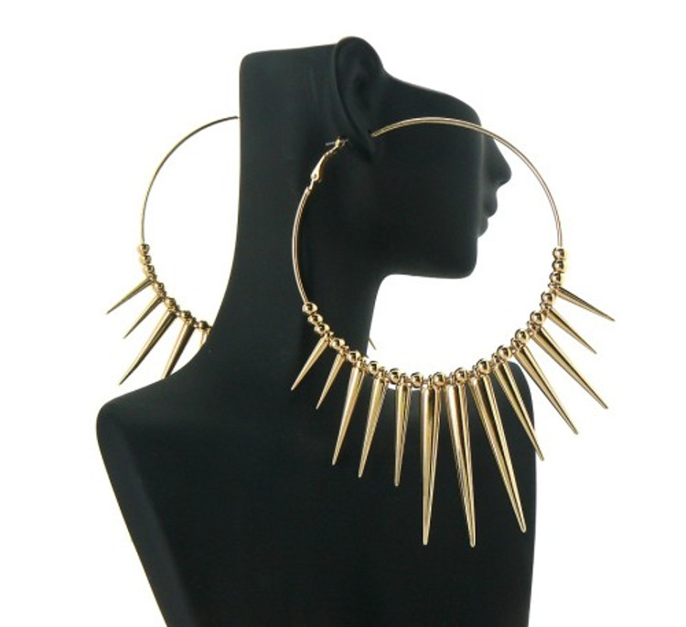 Spike Hoop Basketball Wives Earrings Gold
