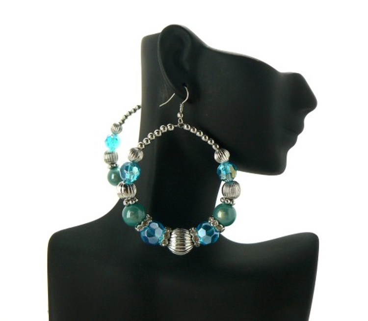 Ball Hoop Basketball Wives Earrings Aqua Blue Silver