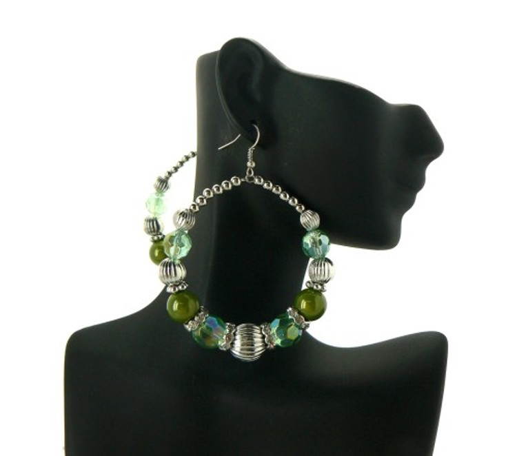 Ball Hoop Basketball Wives Earrings Lime Green Silver