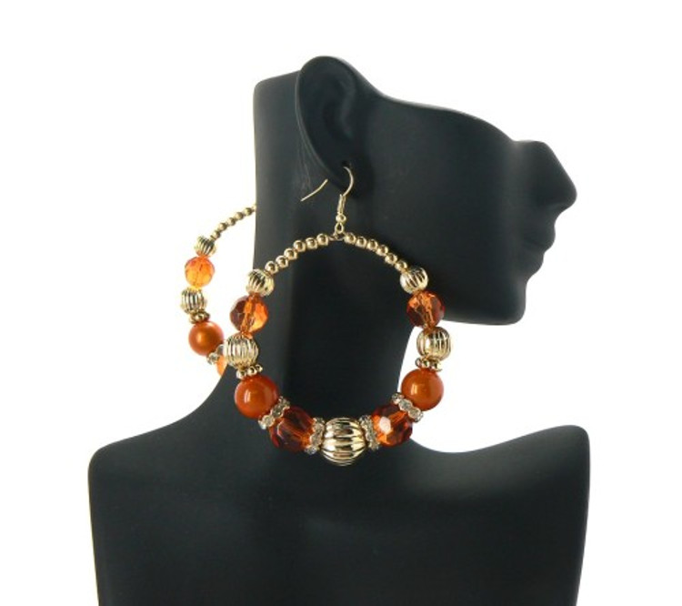 Ball Hoop Basketball Wives Earrings Orange Gold