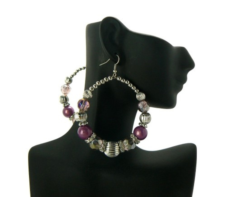 Ball Hoop Basketball Wives Earrings Purple Silver