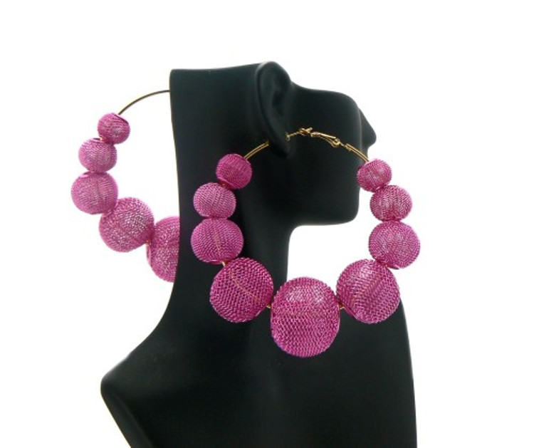 Big Mesh Ball Basketball Wives Earrings Pink