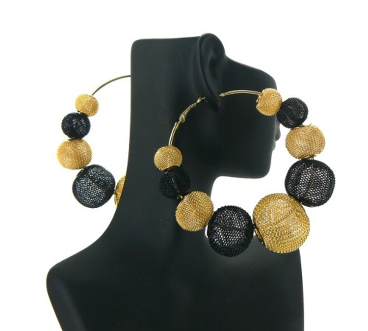 Black & Gold Big Mesh Ball Basketball Wives Earrings