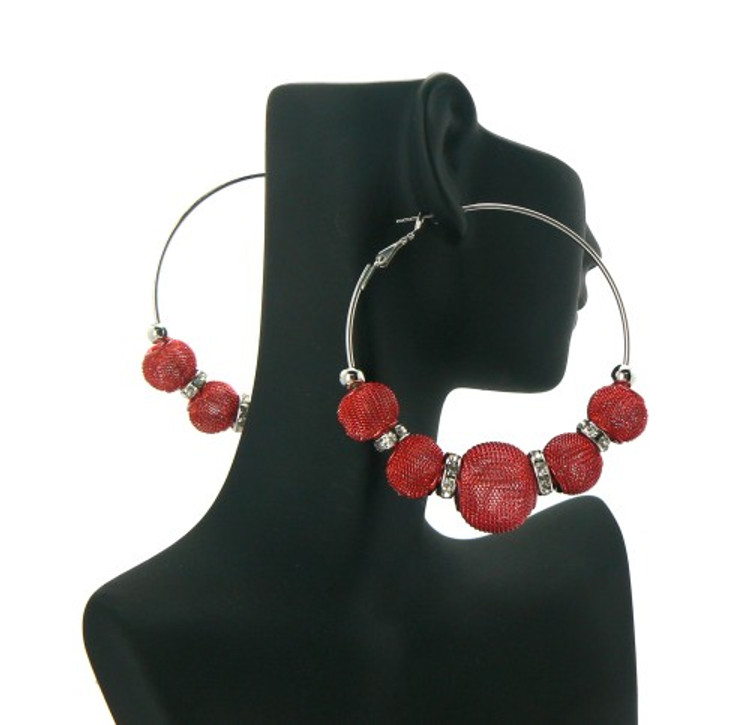 Big Mesh Ball Cz Basketball Wives Earrings Red