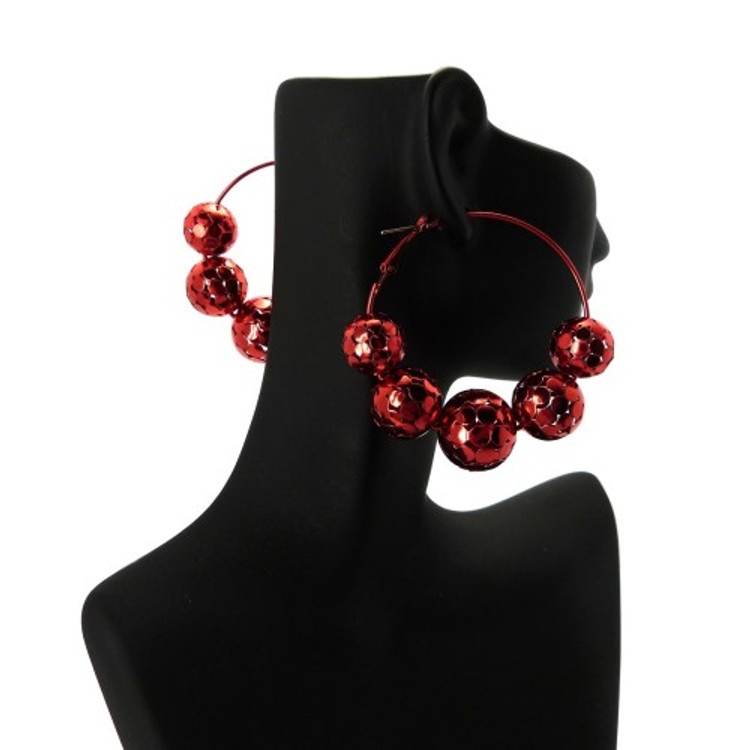 Disco Ball Style Basketball Wives Earrings Red
