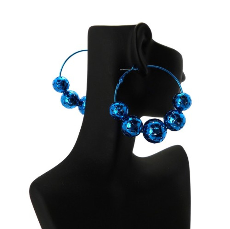 Disco Ball Style Basketball Wives Earrings Metallic Blue