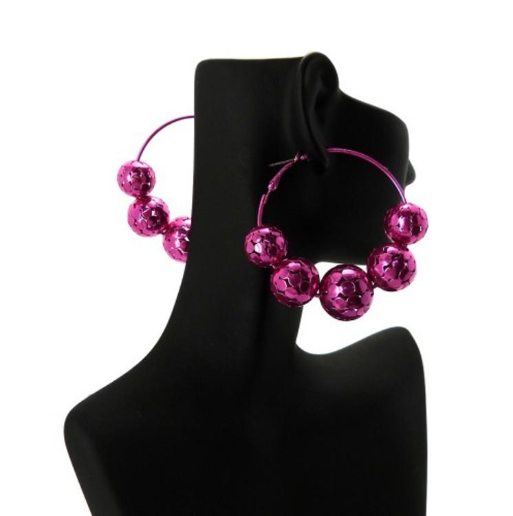 Fuchsia Disco Ball Style Basketball Wives Earrings