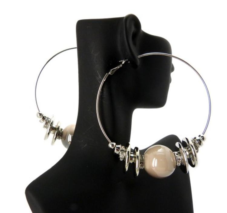 Cz Rhodium Silver Cream Bead Basketball Wives Earrings