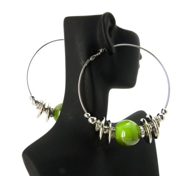 Cz Rhodium Silver Green Bead Basketball Wives Earrings
