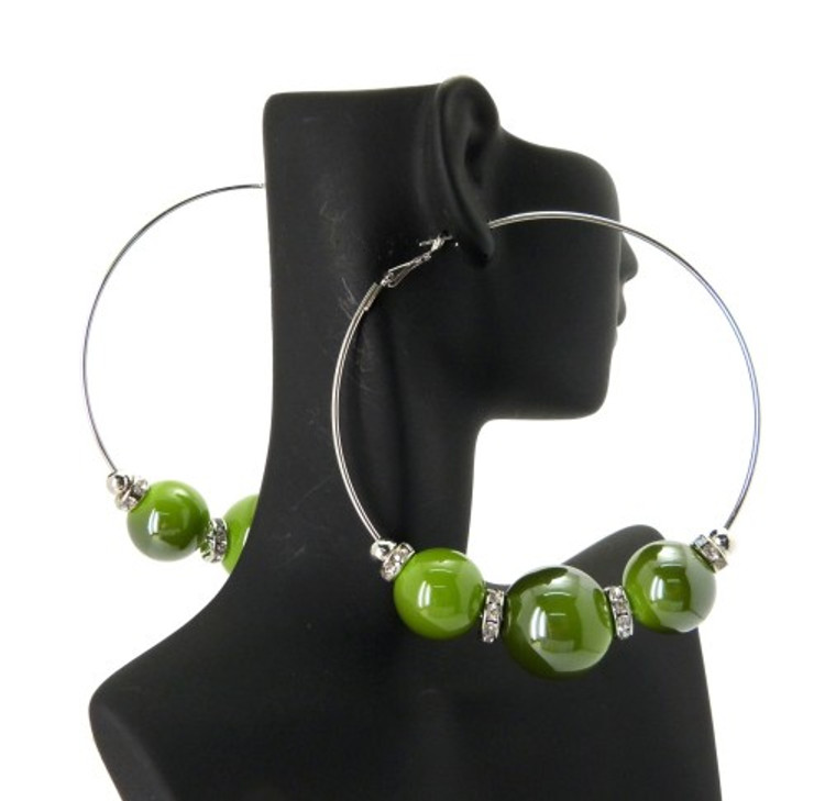 Cz Rhodium Silver 3 Green Beads Basketball Wives Earrings