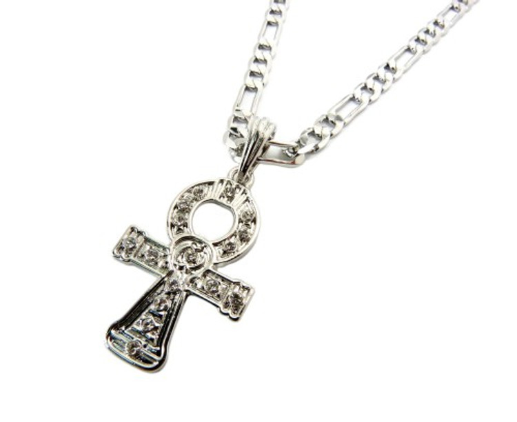 Diamond Cz Celtic Cross Pendant Chain Necklace Silver