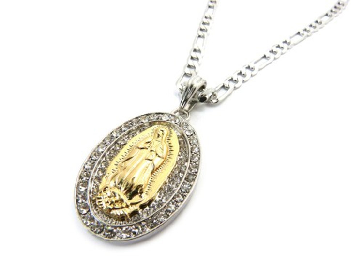 Two Tone Gold & Silver Cz Virgin Mary Pendant Chain