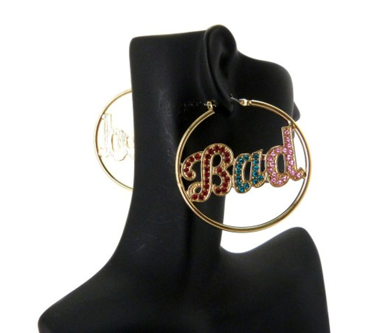 Rainbow Cz Gold Bad Hoop Earrings
