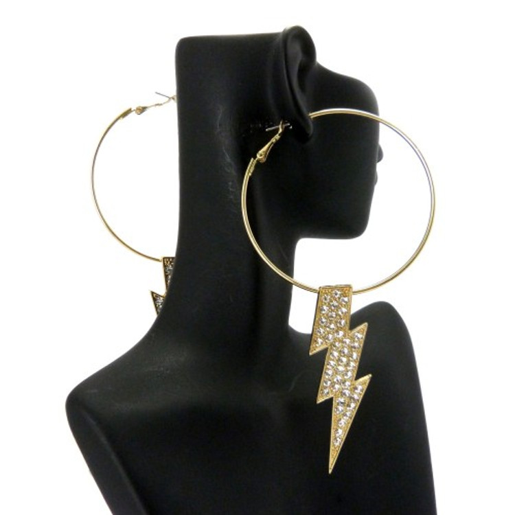 Poparazzi Lightning Bolt BBW Earrings Gold