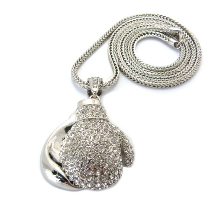 Iced Out Silver Boxing Gloves Pendant w/ Franco Link Chain