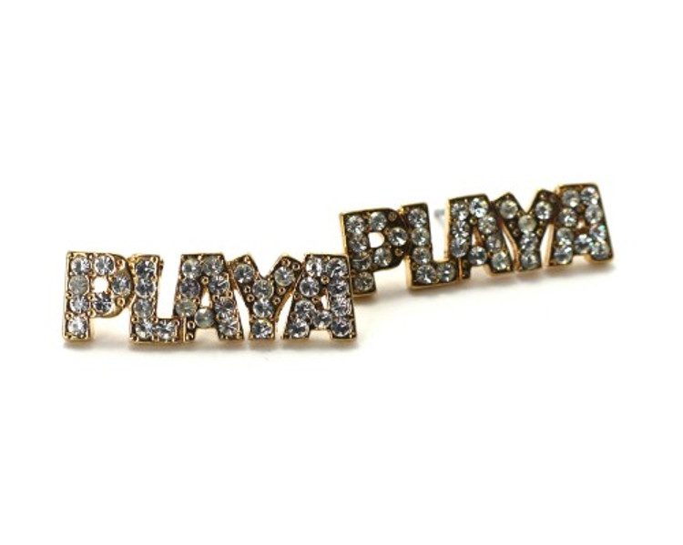 Iced Out Bling Cz Gold Playa Earrings