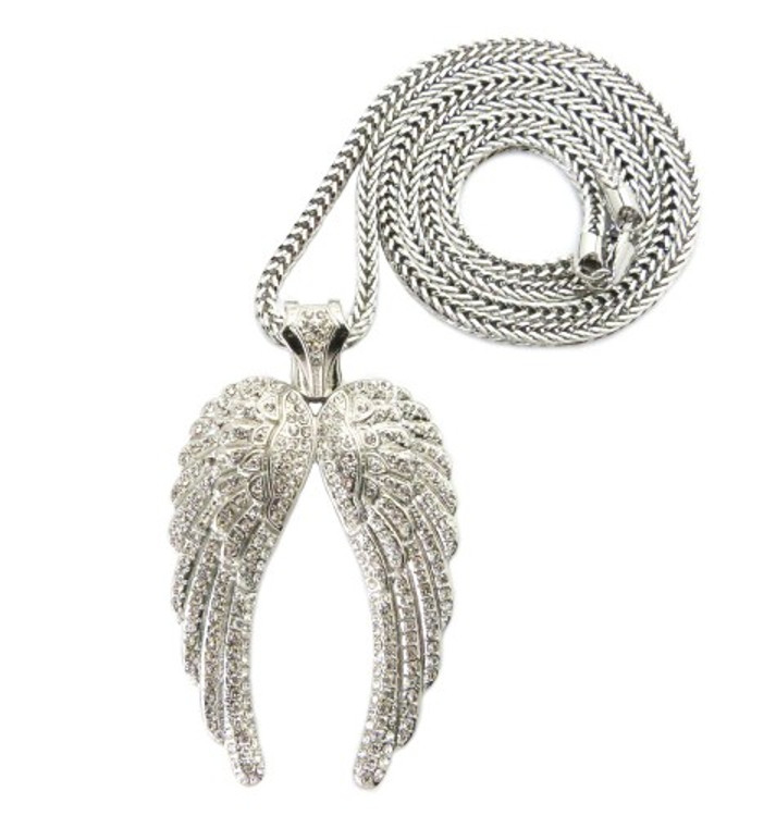 Hip Hop Angel Wings Cz Pendant w/ Franco Chain Silver