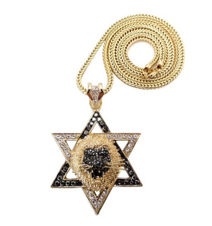 Lion of Judah Exotic Stone Iced Out Pendant w/ Chain Gold